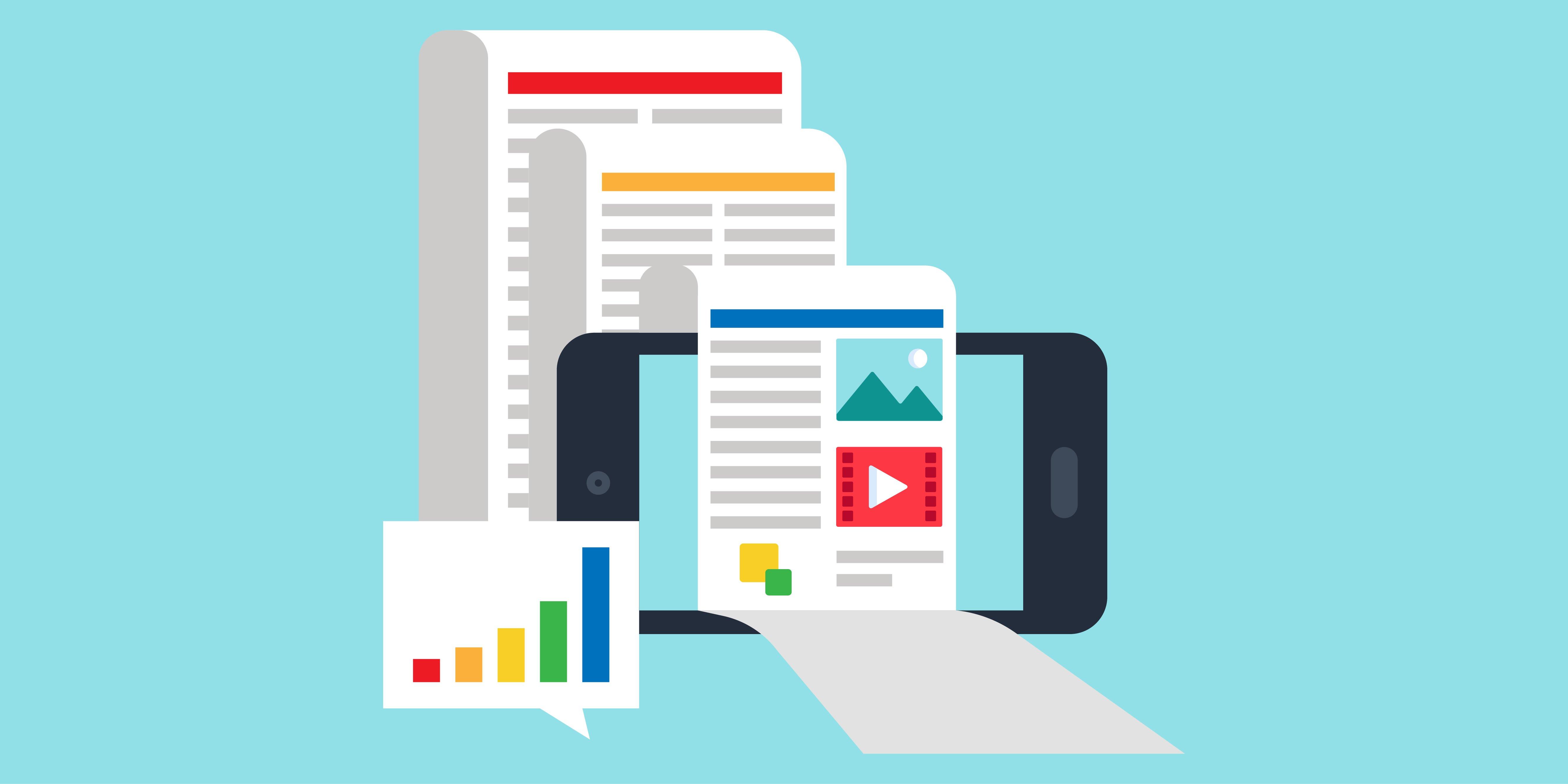 Infographie illustrant les publications digitales mobile